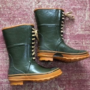 Vintage green lace up rain boots